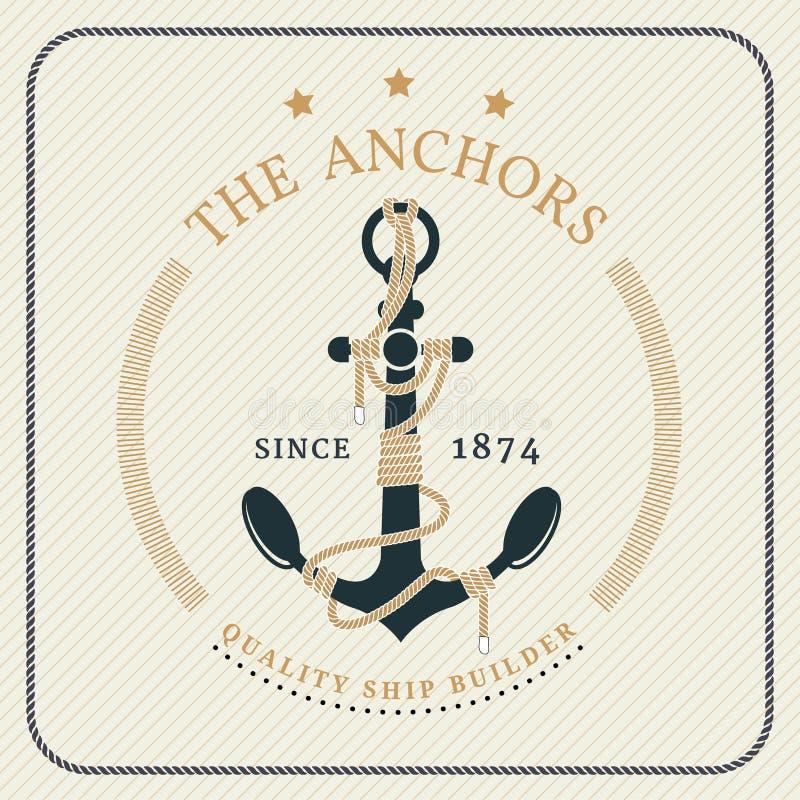 葡萄酒船舶船锚和被栓的绳索标签 库存例证