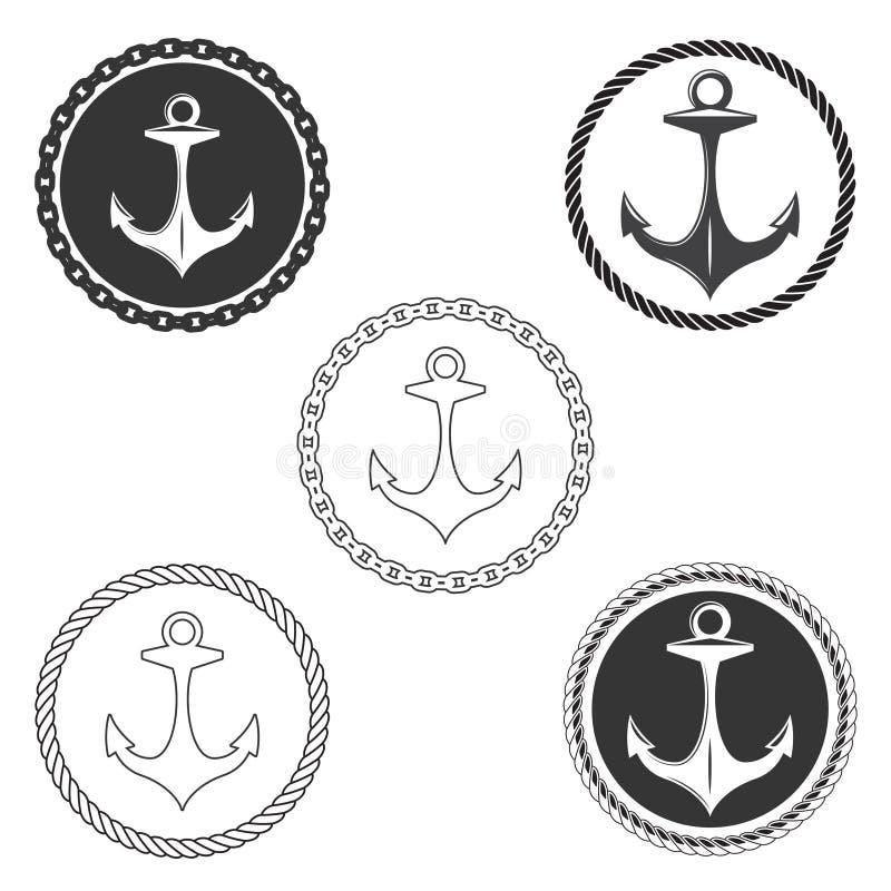 葡萄酒船锚商标与固艇索具和船链子的元素集 库存例证
