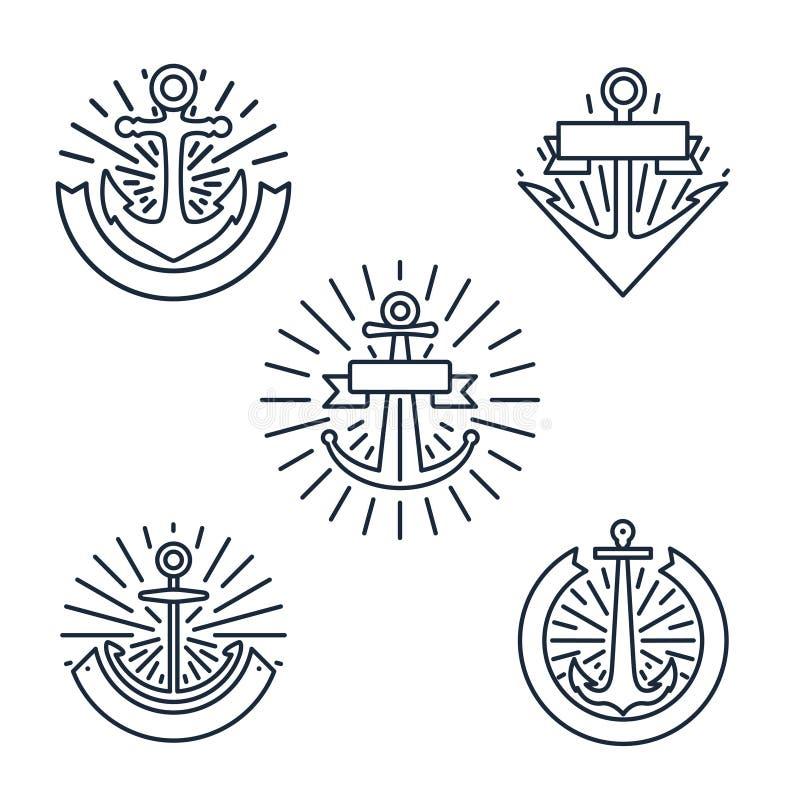 葡萄酒船锚线性商标被设置的或线在白色背景在减速火箭的样式的船舶标签隔绝的 库存例证