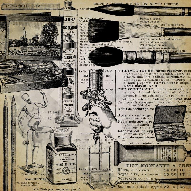 葡萄酒艺术提供拼贴画背景-古色古香的办公用品-葡萄酒-文具-油漆-墨水 库存图片