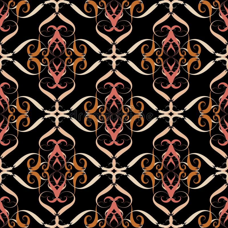 葡萄酒花卉传染媒介无缝的样式 锦缎线艺术装饰品 高雅用花装饰的装饰背景 手拉的高雅 皇族释放例证