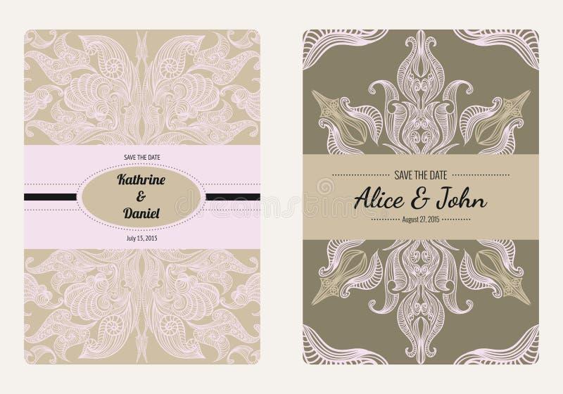 葡萄酒花卉救球日期或婚礼邀请卡片汇集 减速火箭的传染媒介浪漫卡片模板 库存例证