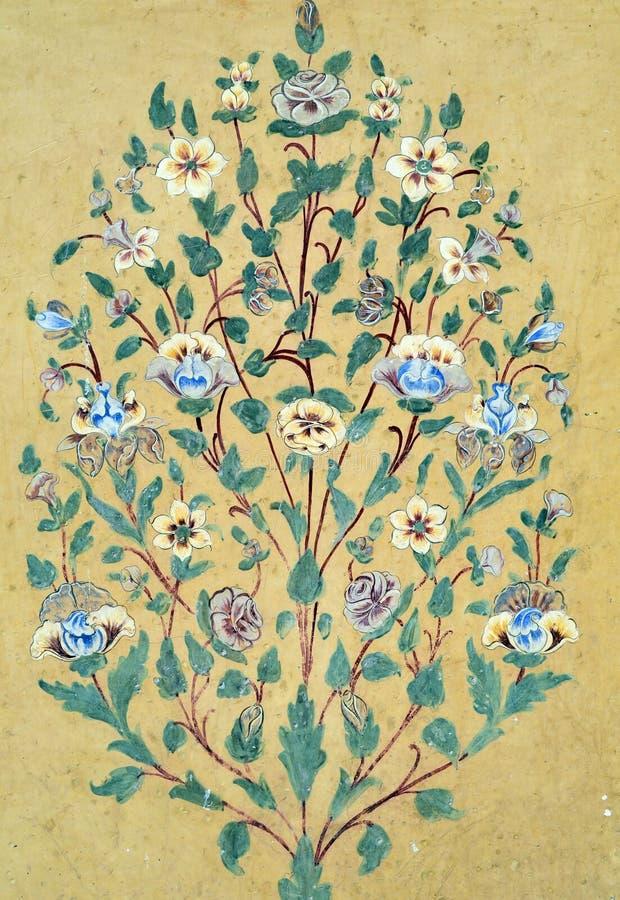 葡萄酒花卉样式墙壁背景 免版税库存照片