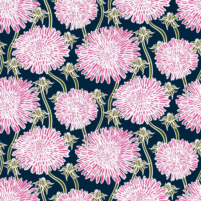 葡萄酒花卉样式用蒲公英或翠菊。 库存例证
