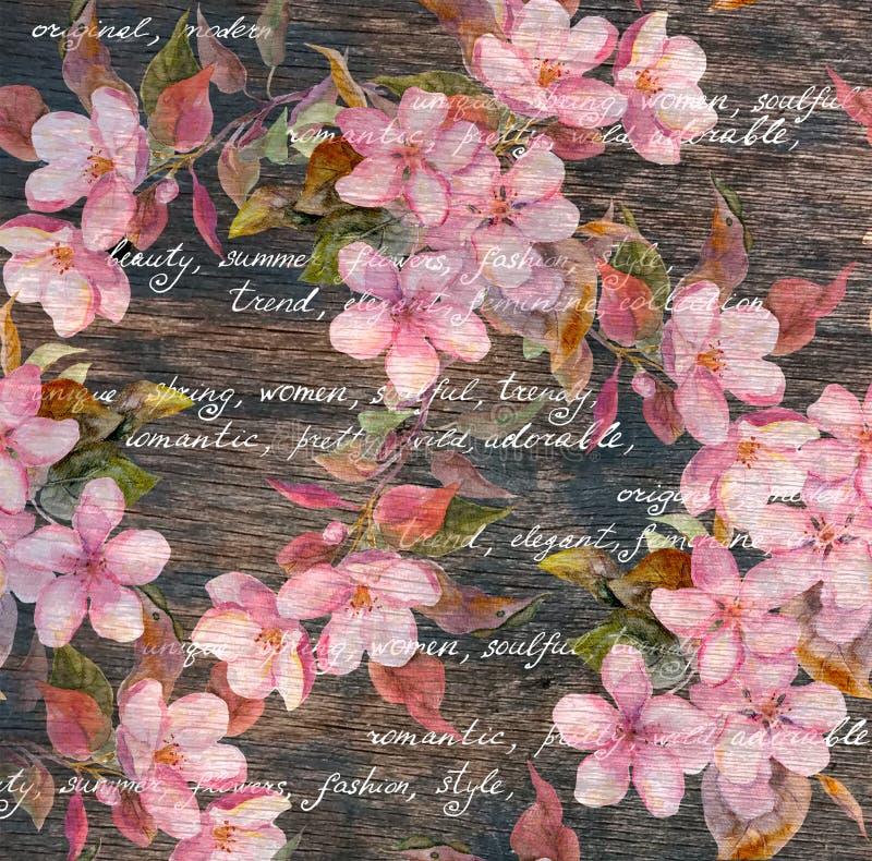 葡萄酒花卉样式-桃红色花,木纹理,手写的文本 免版税库存图片