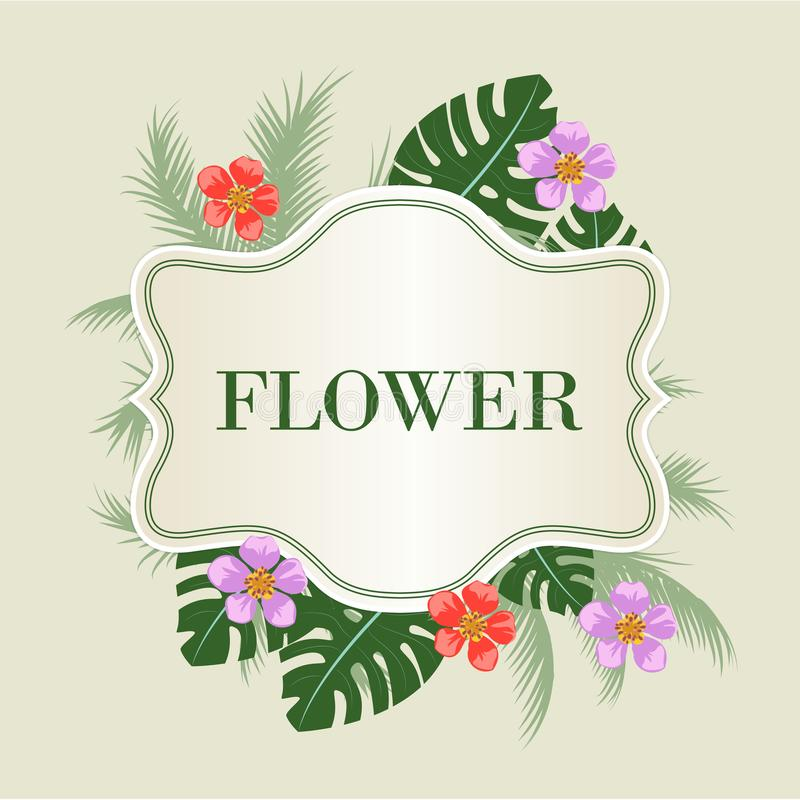 葡萄酒花卉框架、标签与叶子和花 皇族释放例证