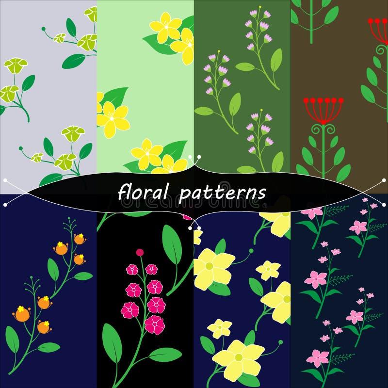 葡萄酒花卉patterns1 向量例证