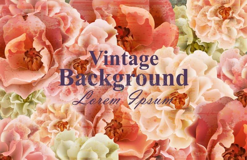 葡萄酒花卡片传染媒介 春天美丽的花卉装饰 横幅海报模板3d背景 皇族释放例证