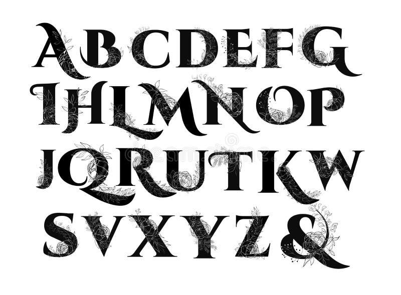 葡萄酒花字母表 皇族释放例证