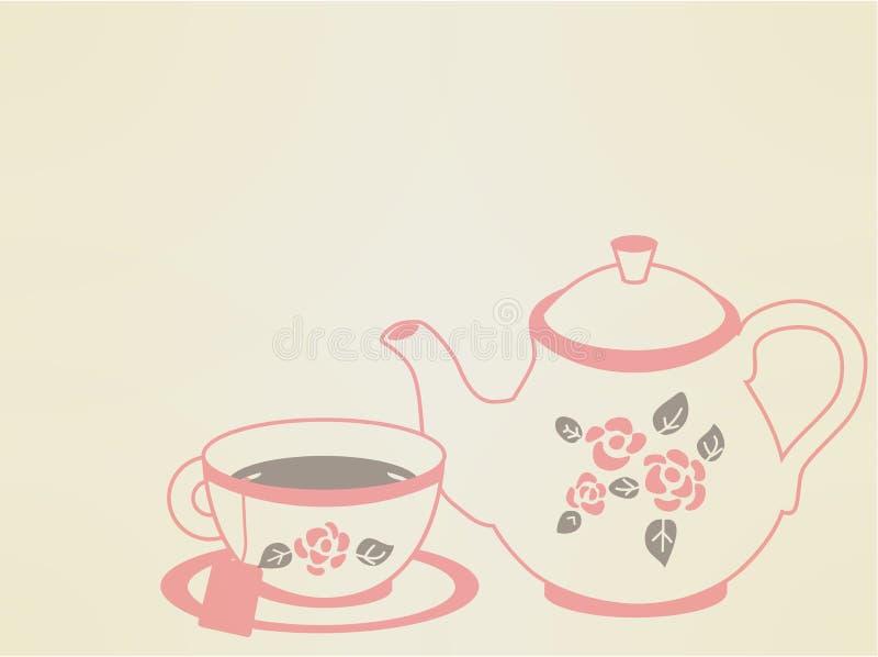 葡萄酒茶罐集合 库存例证