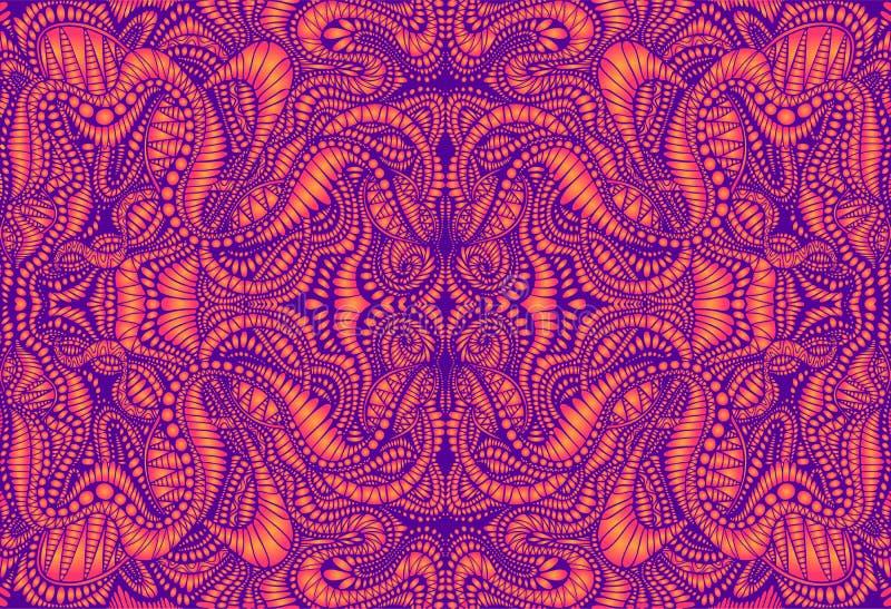 葡萄酒荧光的tryppi五颜六色的分数维样式 梯度霓虹紫罗兰,橘黄色 装饰超现实的摘要 向量例证