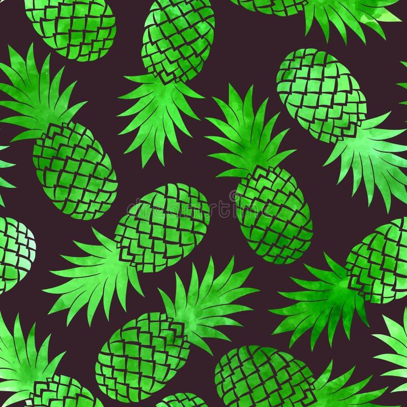 葡萄酒菠萝无缝的样式 库存例证