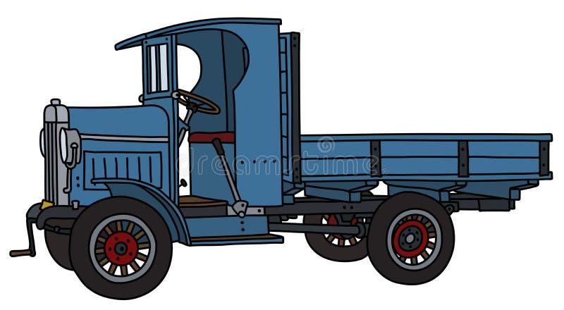 葡萄酒蓝色卡车 皇族释放例证