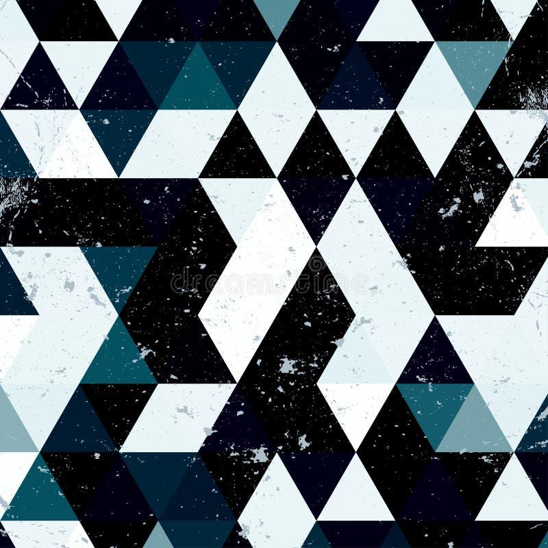 葡萄酒蓝色和白色三角样式 几何与地方的行家减速火箭的背景您的文本的 背景减速火箭的三角 库存例证