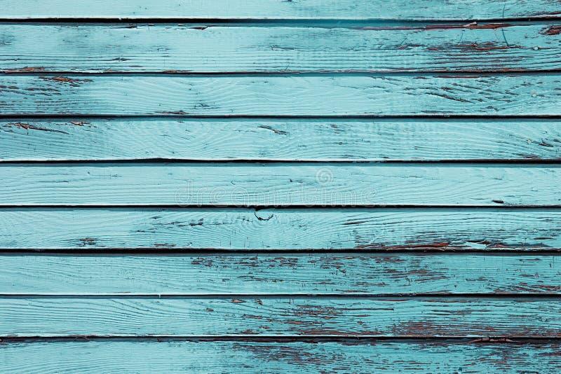 葡萄酒蓝色木背景 老被风化的蓝绿色板 纹理 模式 免版税库存图片