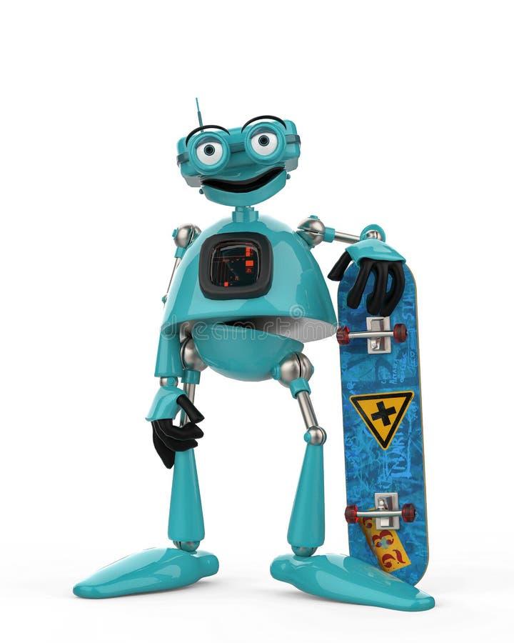 葡萄酒蓝色机器人在白色背景中 库存例证