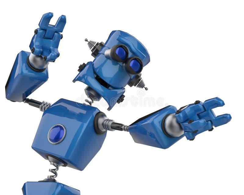 葡萄酒蓝色机器人在白色背景中 向量例证