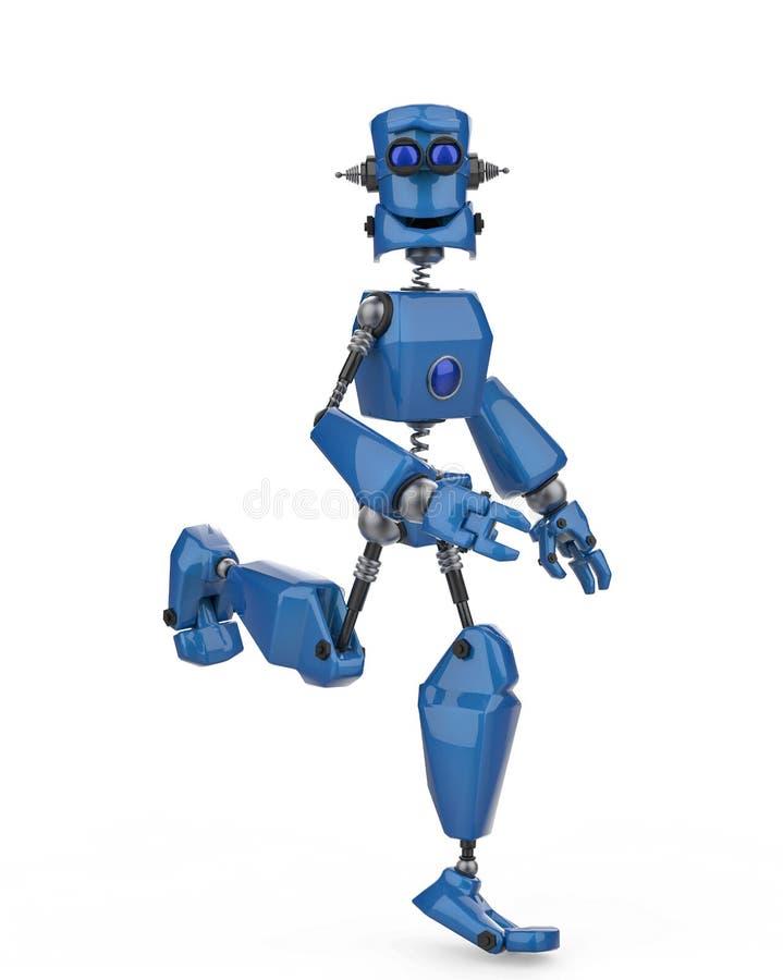 葡萄酒蓝色机器人在白色背景中 皇族释放例证