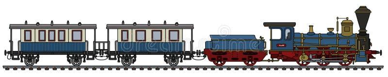 葡萄酒蓝色蒸汽火车 向量例证