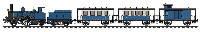 葡萄酒蓝色蒸汽火车 皇族释放例证
