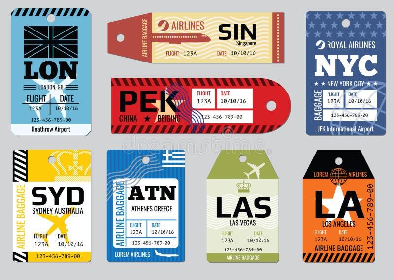 葡萄酒行李标记,旅行标记传染媒介集合 库存例证