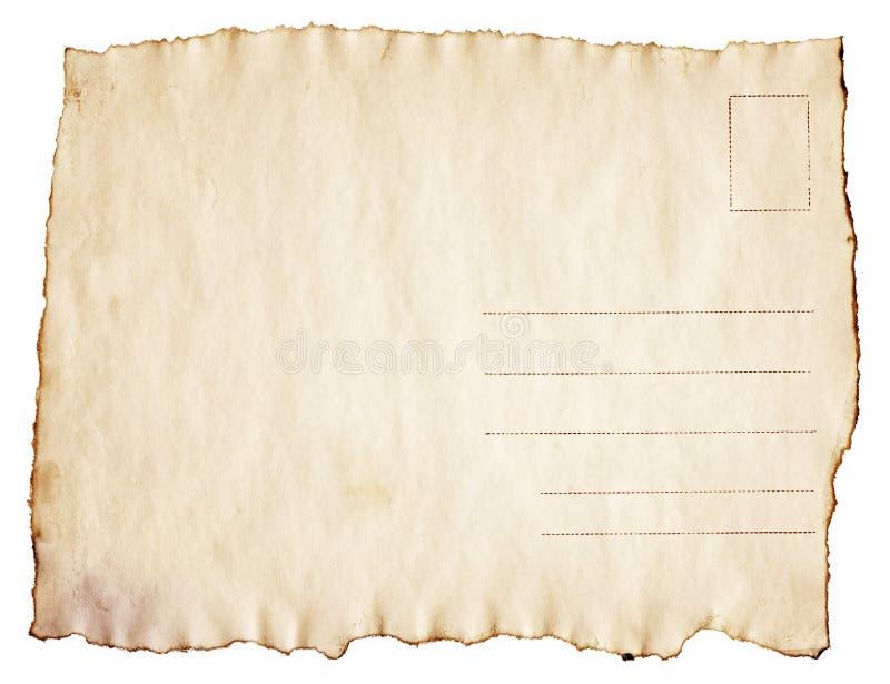葡萄酒被烧焦的明信片在白色背景被隔绝 库存照片