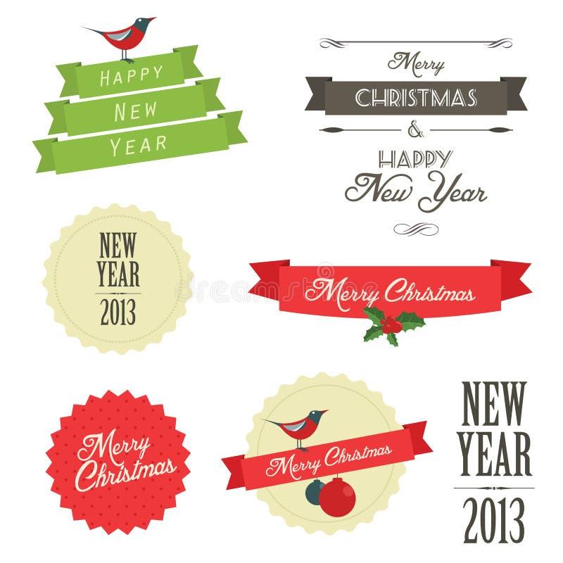 葡萄酒被设置的圣诞节徽章 库存例证