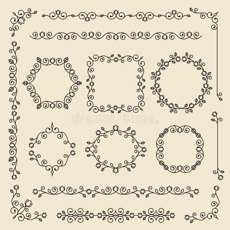 葡萄酒装饰品和分切器 设计元素集向量 华丽弗洛尔 皇族释放例证