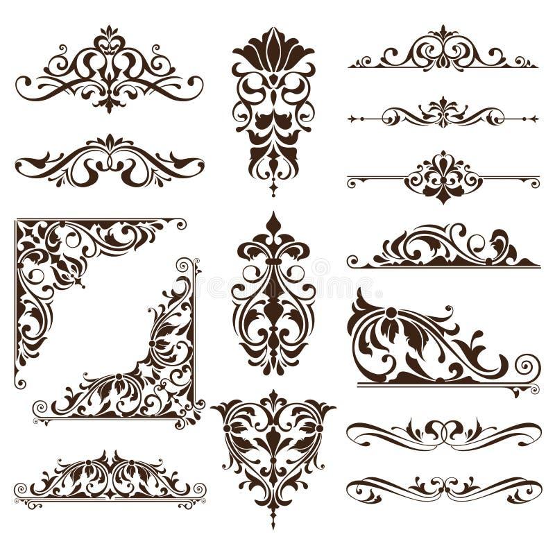 葡萄酒装饰品设计元素花卉curlicues白色背景遏制框架角落贴纸 皇族释放例证
