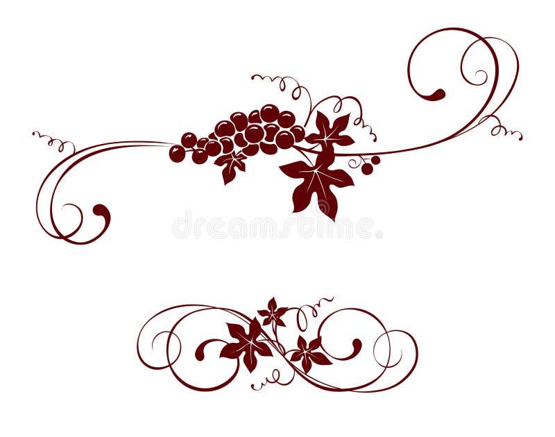 葡萄酒设计元素--葡萄 皇族释放例证