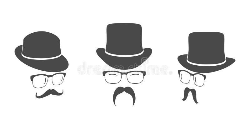 葡萄酒设计元素集(帽子、镜片,髭) 向量例证