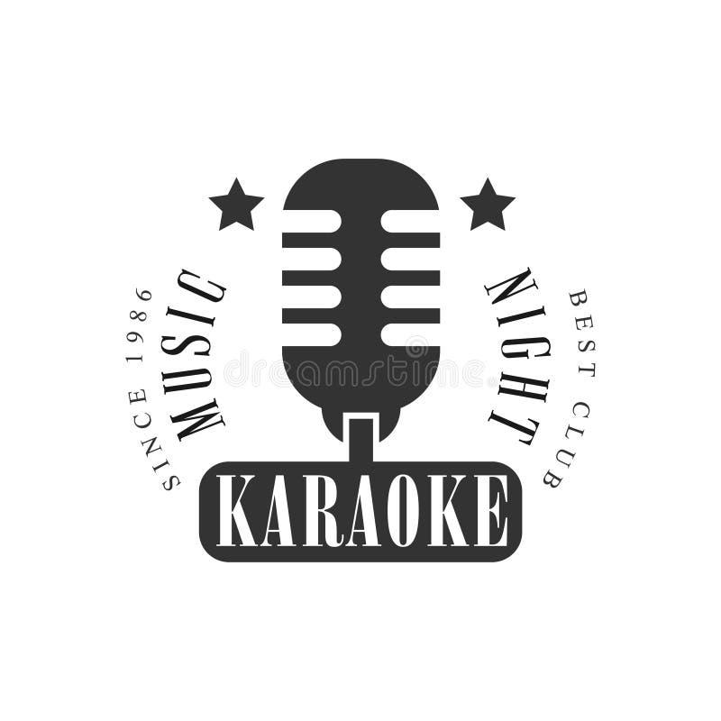 葡萄酒话筒卡拉OK演唱优质质量酒吧俱乐部单色促进减速火箭的标志传染媒介设计模板 皇族释放例证