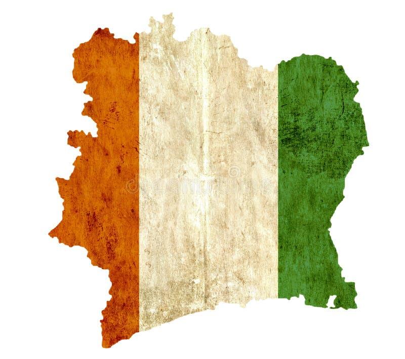 葡萄酒象牙海岸纸地图  皇族释放例证