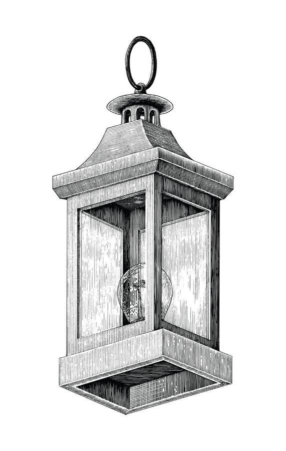 葡萄酒路灯手图画在白色backgr隔绝的剪贴美术 库存例证