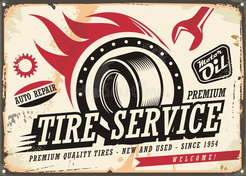 葡萄酒轮胎服务的罐子标志 皇族释放例证