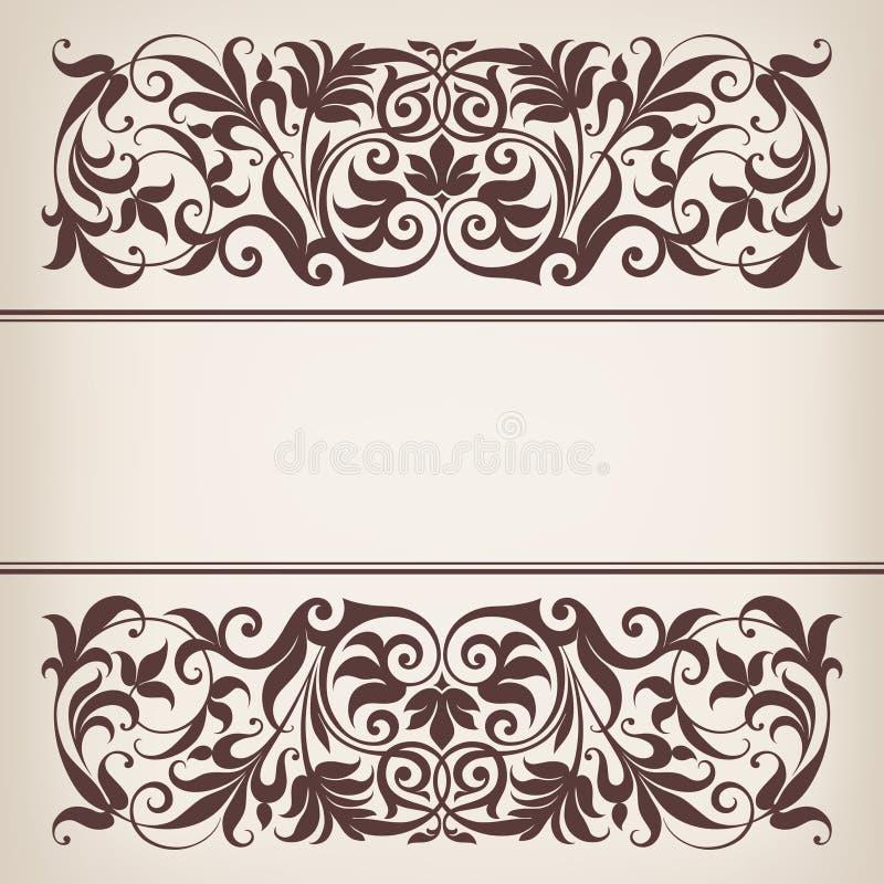 葡萄酒边界框架装饰华丽书法向量 库存例证
