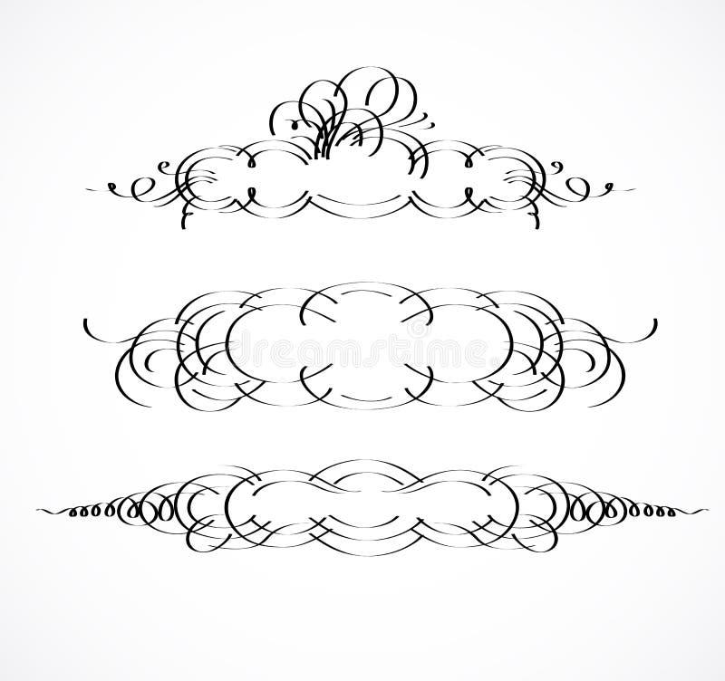 葡萄酒边界,框架 柳条线和老装饰元素在传染媒介 传染媒介页装饰 库存例证