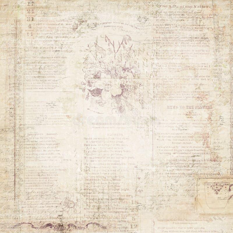 葡萄酒退了色与文本的花卉墙纸 免版税图库摄影