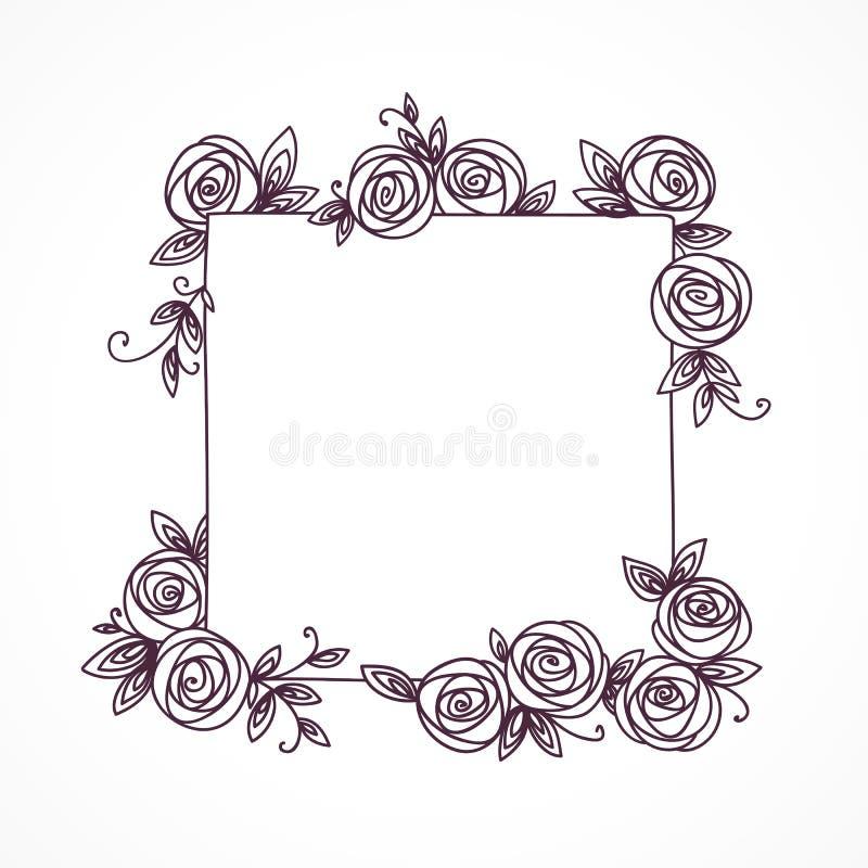 葡萄酒逗人喜爱的花卉框架 婚姻的手拉的例证,招呼,生日装饰设计 库存例证