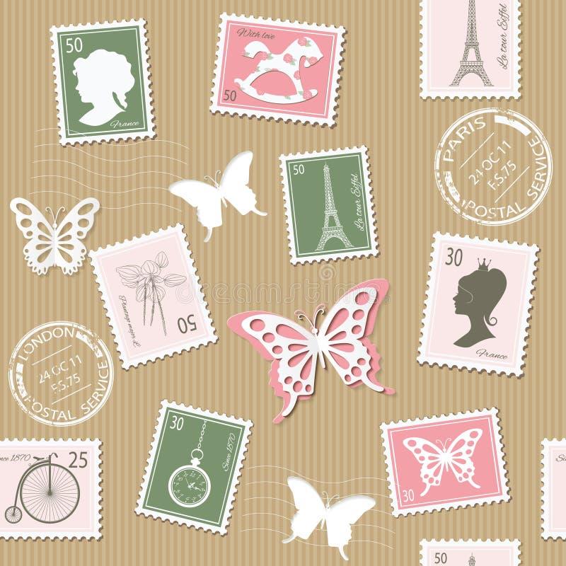 葡萄酒邮政无缝的样式背景 库存例证