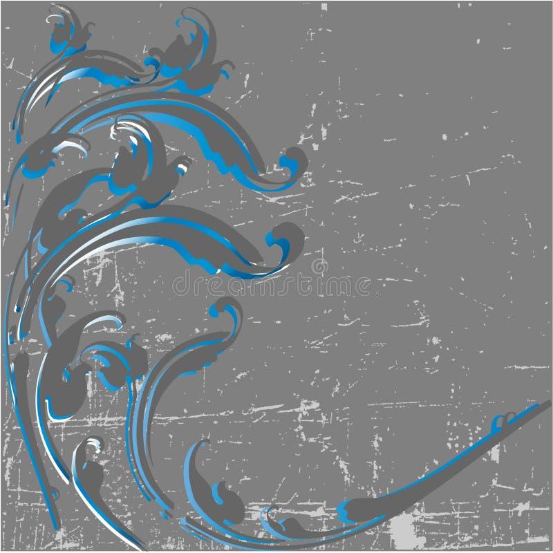 葡萄酒部族漩涡设计在grunge背景中 皇族释放例证
