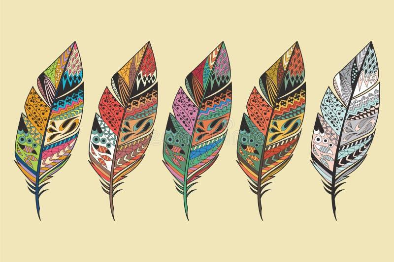 葡萄酒部族种族手拉的五颜六色的羽毛的汇集 向量例证