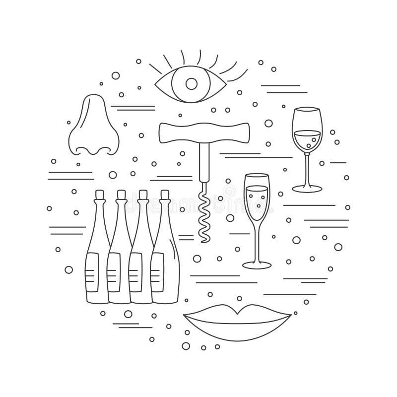 与酿酒厂标志的圆的构成 拔塞螺旋,眼睛,嘴唇,鼻子,酒杯,酒瓶 向量图片