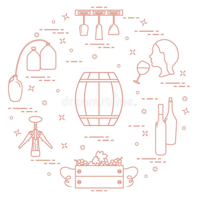 葡萄酒酿造:酒生产和存贮  饮料文化  库存例证