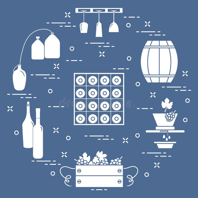 葡萄酒酿造:酒生产和存贮  饮料文化  向量例证