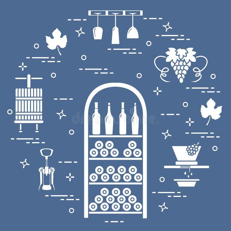 葡萄酒酿造:酒生产和存贮  饮料文化  皇族释放例证