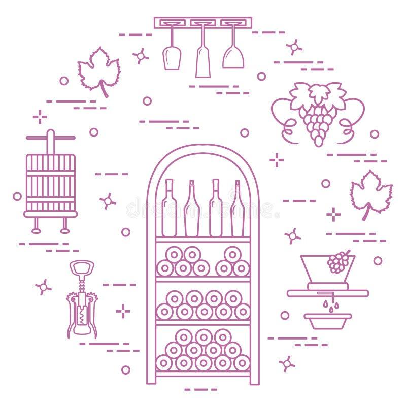 葡萄酒酿造:酒生产和存贮  饮用的酒文化  库存例证