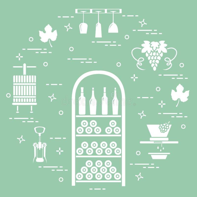 葡萄酒酿造:酒生产和存贮  饮用的酒文化  向量例证