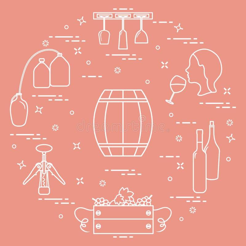 葡萄酒酿造:酒生产和存贮  饮用的酒文化  皇族释放例证