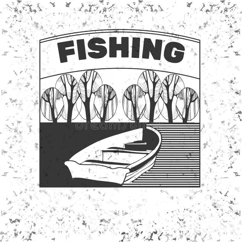 葡萄酒野营和室外冒险象征、商标和徽章 野营的设备 钓鱼在森林里 向量例证